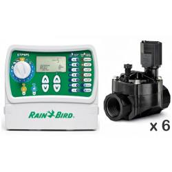 Kit Rain Bird Programador 6 Estaciones + Electroválvulas